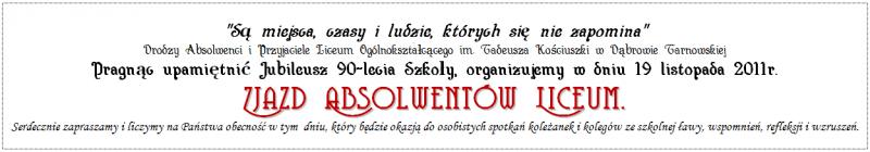 Zaproszenie Na Zjazd Absolwentów Liceum Powiat Dąbrowski