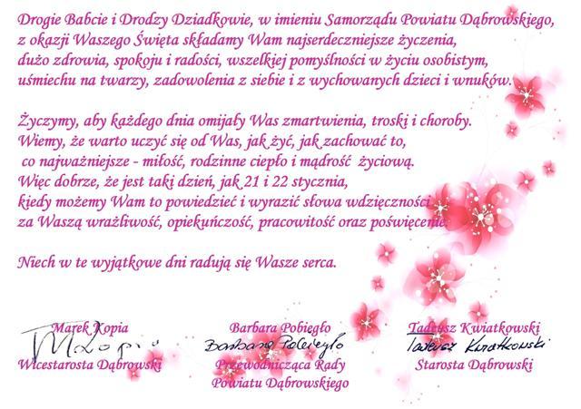 Kochane Babcie I Dziadkowie Powiat Dąbrowski